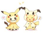 :3 :d @_@ ^_^ ^o^ closed_eyes cosplay eighth_note facing_viewer full_body gen_1_pokemon gen_7_pokemon heart lightning_bolt md5_mismatch mei_(maysroom) mimikyu mimikyu_(cosplay) musical_note no_humans open_mouth pikachu pikachu_(cosplay) pokemon pokemon_(creature) signature simple_background smile speech_bubble spoken_heart spoken_musical_note standing wavy_mouth white_background