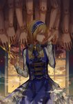 1girl alice_margatroid alternate_costume blonde_hair blue_eyes blue_ribbon breasts center_frills cloud collar commentary_request doll frills headdress highres indoors long_sleeves looking_at_viewer parted_lips profile ribbon scissors short_hair solo touhou window ze_xia