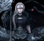 1girl 3d armor chinese_commentary commentary_request fate/grand_order fate_(series) grey_hair headpiece highres jeanne_d'arc_(alter)_(fate) jeanne_d'arc_(fate)_(all) long_hair solo weapon yun_sihang