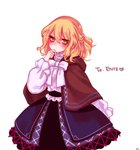 1girl black_belt blonde_hair blue_skirt blush bow bowtie brown_capelet capelet center_frills commentary_request cowboy_shot eyebrows_visible_through_hair green_eyes hair_between_eyes half_updo hand_on_own_chin hand_up heart hood hooded_capelet korean_commentary long_sleeves looking_at_viewer mizuhashi_parsee puffy_sleeves shan shirt short_hair simple_background skirt solo touhou white_background white_bow white_neckwear white_shirt