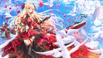 1girl aircraft airplane animal azur_lane bangs bare_shoulders biplane bird black_gloves black_legwear blonde_hair blue_sky blush bouquet braid breasts closed_mouth cloud commentary_request day dress elbow_gloves eyebrows_visible_through_hair flower flying glorious_(azur_lane) gloves green_eyes hair_ribbon headgear highres holding holding_bouquet lace lace_gloves large_breasts long_hair looking_away looking_to_the_side navel navel_cutout outdoors petals red_dress red_flower red_ribbon red_rose ribbon rose rose_petals sky sleeveless sleeveless_dress smile solo standing swordsouls thighhighs very_long_hair
