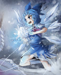 1girl :d ascot blue_eyes blue_hair cirno collared_shirt dress fuente highres ice ice_wings open_mouth puffy_short_sleeves puffy_sleeves shirt short_sleeves skirt skirt_set smile snowflakes socks solo swirling touhou v-shaped_eyebrows vest wavy_hair white_legwear wind wings