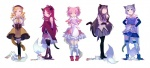 5girls akemi_homura animal_ears bad_id bad_pixiv_id beret black_hair blonde_hair blue_eyes blue_hair boots bubble_skirt cat_ears cat_tail closed_eyes detached_sleeves drill_hair fang food hands_in_pockets hands_on_hips hat highres hug kaname_madoka kemonomimi_mode knee_boots kneehighs kyouno_(414119san) kyubey magical_girl mahou_shoujo_madoka_magica miki_sayaka mouth_hold multiple_girls pantyhose pink_hair pocky ponytail puffy_sleeves red_eyes red_hair sakura_kyouko shoes simple_background skirt smile stepped_on tail tail_wagging thighhighs tomoe_mami yellow_eyes zettai_ryouiki