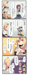 4girls 4koma blonde_hair bow clenched_hand comic eyeball fuukadia_(narcolepsy) hair_bobbles hair_ornament hairband hat hat_bow heart horn hoshiguma_yuugi komeiji_koishi komeiji_satori long_hair long_sleeves multiple_girls onozuka_komachi pink_eyes pink_hair red_eyes red_hair shaded_face silver_hair skirt sparkle third_eye touhou translated