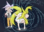 2girls >_< animal_ears barefoot bent_over blonde_hair closed_eyes closed_mouth collar collar_removed commentary_request dog_child_(doitsuken) doitsuken dress drying fang_out floating_hair fox_child_(doitsuken) fox_ears fox_tail grey_legwear highres multiple_girls multiple_tails one_eye_closed original ponytail purple_hair red_eyes short_sleeves slit_pupils smile socks spiked_collar spikes standing tail thick_eyebrows toenails towel towel_around_neck two_tails water_drop white_dress