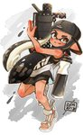 1girl backwards_hat bangs baseball_cap black_eyes black_hair black_shorts blunt_bangs closed_mouth commentary dated diagonal-striped_background diagonal_stripes domino_mask fang full_body harutarou_(orion_3boshi) hat highres holding holding_weapon ink_tank_(splatoon) inkling leaning_back logo long_hair looking_at_viewer mask pointy_ears sandals shirt shorts sleeveless sleeveless_shirt smile solo splatoon_(series) splatoon_2 standing standing_on_one_leg striped striped_background tan tentacle_hair weapon white_footwear white_shirt