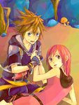 1boy 1girl blue_eyes brown_hair commentary_request dress gloves jewelry kairi_(kingdom_hearts) kingdom_hearts kingdom_hearts_ii looking_at_viewer medium_hair mushroom necklace open_mouth ramochi_(auti) red_hair smile sora_(kingdom_hearts)