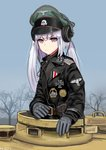 1girl absurdres bare_tree bird commentary_request eagle german_commentary german_text girls_frontline gloves ground_vehicle hat highres iron_cross medal mg42_(girls_frontline) military military_jacket military_uniform military_vehicle motor_vehicle panzerkampfwagen_panther peaked_cap pk-971 purple_eyes silver_hair skull_and_crossbones solo tank tree uniform wehrmacht world_war_ii