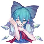 1girl blue_bow blue_eyes blue_hair blush bow cirno cropped_torso crying hair_between_eyes hair_bow highres ice ice_wings one_eye_closed puffy_short_sleeves puffy_sleeves red_scarf scarf short_sleeves simple_background solo ssangbong-llama touhou upper_body white_background wings