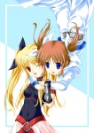 2girls ;d arm_belt belt black_bow blonde_hair bow buckle cowboy_shot fate_testarossa fingerless_gloves gloves hair_bow long_hair long_sleeves looking_at_another lyrical_nanoha magical_girl maho_(yakimorokoshi) mahou_shoujo_lyrical_nanoha mahou_shoujo_lyrical_nanoha_a's multiple_girls one_eye_closed open_mouth purple_eyes red_eyes red_hair rotational_symmetry short_hair sidelocks smile takamachi_nanoha twintails white_bow