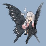 1girl :p anne_(bravely_second) antenna_hair black_gloves black_legwear black_leotard blue_background blue_eyes boots bravely_default_(series) bravely_second:_end_layer elbow_gloves fairy fairy_wings gloves grey_hair leotard long_hair pointy_ears simple_background sitting smile solo thigh_boots thighhighs tongue tongue_out wings
