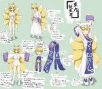1girl animal_ears blonde_hair character_sheet check_translation chinese_clothes clothes diagram embarrassed fox_ears fox_tail hat highres kamehoro multiple_tails partially_translated robe sarashi short_hair stretch surcoat tail touhou translation_request yakumo_ran yellow_eyes