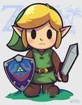 1boy artist_name belt black_eyes blonde_hair blush brown_belt brown_footwear commentary eyebrows_visible_through_hair frown green_headwear green_shirt highres holding holding_shield holding_sword holding_weapon link long_sleeves pointy_ears shield shirt shoes solid_oval_eyes solo sword the_legend_of_zelda the_legend_of_zelda:_link's_awakening weapon woofzilla