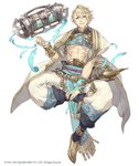 1boy abs aladdin_(sinoalice) anklet arabian_clothes blonde_hair blue_eyes bracelet eyebrows_visible_through_hair eyes_visible_through_hair floating full_body jewelry ji_no looking_at_viewer official_art oil_lamp pointy_shoes scroll shoes sinoalice solo white_background