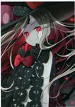 1girl abigail_williams_(fate/grand_order) absurdres black_bow black_headwear blurry blurry_background bow closed_mouth depth_of_field fate/grand_order fate_(series) floating_hair glowing glowing_eyes hat highres keyhole long_hair non-web_source pale_skin polka_dot polka_dot_bow red_bow red_eyes revealing_clothes scan smile solo upper_body very_long_hair witch_hat yano_mitsuki