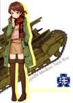 1girl absurdres blush boots brown_eyes brown_footwear brown_hair brown_skirt character_name closed_mouth coat full_body girls_und_panzer green_coat ground_vehicle hand_in_pocket highres hood hood_down hooded_coat kawanishi_shinobu looking_at_viewer military military_vehicle miniskirt motor_vehicle open_clothes open_coat plaid plaid_scarf pleated_skirt ribbed_sweater scarf shiny shiny_hair short_hair skirt smile solo sweater tank thigh_boots thighhighs type_89_i-gou white_background zettai_ryouiki