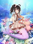 1girl ahoge air_bubble animal bangs black_hair blush bow brown_bow brown_dress brown_neckwear bubble cardfight!!_vanguard character_request commentary_request coral dappled_sunlight day dress fish gloves hair_bow head_tilt heart jacket long_hair mermaid monster_girl object_hug ocean_bottom one_side_up open_clothes open_jacket open_mouth outdoors pink_bow pleated_dress red_bow red_eyes school_of_fish shirako_miso sleeveless sleeveless_dress sleeveless_jacket solo stuffed_animal stuffed_toy sunlight teddy_bear underwater water watermark white_gloves white_jacket