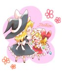 2girls :d ^_^ ascot blonde_hair blush blush_stickers bow chibi closed_eyes dress fang fist_pump flandre_scarlet hair_bow happy hat height_difference kirisame_marisa mob_cap multiple_girls natsune_ilasuto open_mouth petting side_ponytail signature skirt skirt_set smile touhou vest wings witch_hat