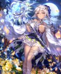 1girl blue_flower blue_ribbon breasts cape dress flower full_moon gloves hair_between_eyes hair_flower hair_ornament hair_ribbon holding holding_staff irua long_hair moon night outdoors parted_lips ribbon shingeki_no_bahamut shiny shiny_skin short_dress silver_hair sky small_breasts solo staff star_(sky) starry_sky thigh_strap underboob white_cape white_gloves yellow_eyes yellow_flower