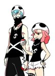 1boy 1girl :3 >:3 alternate_costume bandana bandana_over_mouth bare_shoulders blue_hair commentary_request cosplay gyosone hand_on_hip height_difference holding holding_poke_ball inumuta_houka jakuzure_nonon jewelry kill_la_kill necklace no_glasses pink_eyes pink_hair poke_ball pokemon pokemon_(game) pokemon_sm short_hair short_shorts shorts team_skull team_skull_(cosplay) team_skull_grunt thigh_strap torn_clothes wristband