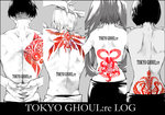 2boys 2girls arms_behind_back back column_lineup copyright_name ear_piercing from_behind grey_background hands_on_own_shoulders interlocked_fingers long_hair markings monochrome multiple_boys multiple_girls muscle mutsuki_tooru nape noppo piercing shirazu_ginshi short_hair spot_color tokyo_ghoul:re topless twintails urie_kuki yonebayashi_saiko