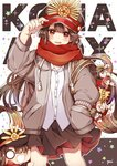 1girl adjusting_headwear bag black_skirt blush brown_hair chibi commentary_request cowboy_shot eyebrows_visible_through_hair family_crest fate/grand_order fate_(series) grey_jacket hand_in_pocket hand_up hat hi_(wshw5728) highres jacket keychain koha-ace leg_cling long_hair long_sleeves oda_nobunaga_(fate) oda_nobunaga_(swimsuit_berserker)_(fate) oda_uri open_clothes open_jacket open_mouth outline peaked_cap pleated_skirt red_eyes red_scarf scarf school_bag shirt skirt smile star starry_background white_shirt