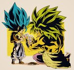 2boys beige_background black_footwear blue_eyes blue_hair broly_(dragon_ball_super) card chibi clothes_around_waist commentary_request crossed_arms crossed_legs dragon_ball dragon_ball_super_broly expressionless facial_scar fenyon fingernails food food_in_mouth food_on_face full_body gogeta green_hair holding holding_card legs_apart male_focus multiple_boys muscle no_pupils pants playing_card profile purple_legwear rock scar scar_on_cheek shirtless simple_background sitting spiked_hair square standing super_saiyan_blue super_saiyan_full_power twitter_username waist_cape waistcoat white_pants wristband yellow_background