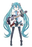 1girl anklet aqua_eyes aqua_hair arm_up bare_shoulders belt breasts detached_sleeves electric_guitar full_body guitar hair_ornament hatsune_miku highres holding holding_instrument instrument jewelry kari_kenji long_hair looking_at_viewer nail_polish shirt skirt sleeveless sleeveless_shirt small_breasts smile solo spiked_anklet standing thighhighs twintails very_long_hair vocaloid white_background white_shirt zettai_ryouiki