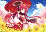 1girl absurdres animal animal_ears animal_on_shoulder bird_on_shoulder cherry_blossoms eyebrows_visible_through_hair field floating_hair floral_print flower flower_field fox_ears fox_tail from_below hair_ribbon hakama highres holding holding_umbrella japanese_clothes long_hair oriental_umbrella original outdoors petals red_eyes red_hair red_hakama red_umbrella ribbon shiromochi_sakura solo tail tree umbrella very_long_hair white_ribbon yellow_flower