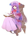 1girl abe_suke bangs blue_bow blush book bow bowtie brown_eyes closed_mouth dress eyebrows_visible_through_hair full_body hair_bow hat highres holding holding_book long_hair long_sleeves looking_at_viewer mob_cap patchouli_knowledge purple_dress purple_hair purple_hat red_bow red_neckwear shoes sidelocks solo touhou translation_request white_background white_footwear wide_sleeves