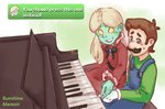 1boy 1girl black_bow blue_eyes blue_overalls bow brown_hair commentary dress facial_hair ghost gloves green_shirt instrument khiuly luigi luigi's_mansion melody_pianissima mustache piano platinum_blonde_hair red_dress shirt smile sweat white_gloves yellow_eyes