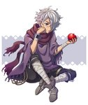 1boy apple bandages food fruit gloves hair_over_one_eye kina_kirin male_focus octopath_traveler scarf short_hair simple_background solo therion_(octopath_traveler) white_hair