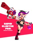1girl :d artist_name bandana black_shorts boots breasts crop_top cross-laced_footwear full_body groin highres holding jacket lace-up_boots leg_up long_sleeves looking_at_viewer medium_breasts medium_hair navel octarian octoling open_clothes open_jacket open_mouth otoboke-san purple_hair rapid_blaster_pro_(splatoon) red_eyes red_footwear shorts smile solo splatoon_(series) splatoon_2 standing standing_on_one_leg suction_cups tentacle_hair toxic_mist_(splatoon) unzipped zipper zipper_pull_tab