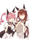 2girls animal_ears apron blush breasts brown_hair corset cosplay drill_hair duoyuanjun fake_animal_ears faris_nyannyan highres large_breasts lavender_eyes long_hair maid_apron maid_headdress makise_kurisu multiple_girls neck_ribbon one_eye_closed open_mouth paw_pose pink_eyes pink_hair ribbon short_hair simple_background steins;gate tray twin_drills upper_body wavy_mouth white_background
