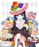 1girl black_hair blue_eyes boots candy candy_jar chair cup food food_themed_clothes hat jar knee_boots long_hair mintchoco_(orange_shabette) moriah_saga official_art pig plate skirt solo table teacup top_hat