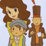 ! 1girl 2boys blush_stickers brown_hair hat hershel_layton ilya_kuvshinov long_hair luke_triton multiple_boys open_mouth professor_layton remi_altava short_hair top_hat