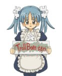 1girl blue_eyes blue_hair commentary hair_ornament kasuga39 lowres maid open_mouth pantyhose puzzle_piece sign solo tears transparent_background twintails wikipe-tan wikipedia