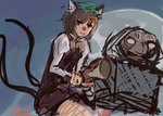 1girl :3 animal_ears bicycle bike_horn brown_eyes brown_hair cat_ears cat_tail chen crossover dress e.t. et full_moon ground_vehicle hat honk_honk in_basket moon multiple_tails panties_(pantsu-pirate) parody short_hair tail touhou