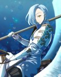 1boy blue_hair bubble cimeri feathered_wings fire_emblem fire_emblem_heroes fire_emblem_if gloves hair_over_one_eye male_focus naginata open_mouth polearm shigure_(fire_emblem_if) solo weapon wings yellow_eyes