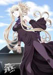 1girl aoki_hagane_no_arpeggio artist_name bangs black_dress blue_lipstick blue_sky blunt_bangs breasts bridal_gauntlets cleavage commentary_request dated detached_sleeves dress hair_up kaname_aomame kongou_(aoki_hagane_no_arpeggio) lace lipstick long_hair makeup medium_breasts pantyhose red_eyes side_slit sidelocks sky smile solo translation_request upper_body white_hair wide_sleeves