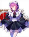 1girl apron bowtie braid closed_eyes eltnum frilled_skirt frills hands_on_hips long_hair low-tied_long_hair maid melty_blood open_mouth sion_eltnam_atlasia skirt solo thighhighs tsukihime under_night_in-birth yusano