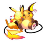:3 berry brown_eyes closed_eyes closed_mouth commentary food full_body gen_1_pokemon holding holding_food minichi-01 no_humans pikachu pokemon pokemon_(creature) raichu side-by-side simple_background sitting sleeping sleeping_upright white_background