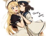 2girls bitchcraft123 black_eyes black_hair blonde_hair blue_eyes blue_sailor_collar character_name cheek-to-cheek cowboy_shot daitou_(kantai_collection) dress gloves hat holding_hands jervis_(kantai_collection) kantai_collection long_hair multiple_girls sailor_collar sailor_dress sailor_hat short_hair short_sleeves simple_background white_background white_gloves white_hat