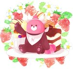 apple_slice arm_up bad_id bad_pixiv_id bear bewear flower food fruit gen_7_pokemon highres looking_at_viewer no_humans outstretched_arm plate pokemon pokemon_(creature) pokemon_(game) pokemon_sm pudding red_eyes sitting solo strawberry sweets tsukiyo_(skymint) white_background white_flower
