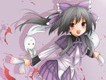 1girl akemi_homura akemi_homura_(cosplay) bow bunny check_commentary commentary_request cosplay creek_(moon-sky) dress eyebrows_visible_through_hair grey_hair hair_between_eyes hakurei_reimu kyubey mahou_shoujo_madoka_magica multicolored multicolored_clothes multicolored_dress open_mouth purple_background purple_bow red_eyes shadow simple_background solo touhou