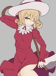1girl arm_behind_head bangs blonde_hair breasts cowboy_shot curly_hair dress dress_lift elly eyebrows_visible_through_hair frilled_sleeves frills grey_background half-closed_eye hat hat_ribbon highres hips holding holding_scythe holding_weapon long_sleeves marsen one_eye_closed outline red_dress ribbon scythe short_hair sidelocks simple_background small_breasts smile solo sun_hat thighs touhou touhou_(pc-98) weapon white_hat yellow_eyes