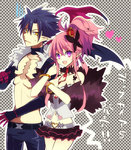 1boy 1girl :d belt between_breasts blue_hair bracelet breasts choker cleavage crown disgaea fang frilled_skirt frills jewelry killia_(disgaea) lololotton makai_senki_disgaea_5 midriff navel necktie necktie_between_breasts open_mouth pink_hair pointy_ears polka_dot polka_dot_background ponytail purple_eyes seraphina_(disgaea) short_hair skirt smile wings yellow_eyes