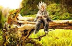 1boy belafu_(human) book burn_scar cloak day facial_scar fallen_tree grey_eyes holding holding_book made_in_abyss male_focus nature outdoors pants pumichi reading scar sitting solo spiked_hair white_hair wide_shot