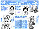 3girls ^_^ animal_ears blush_stickers bunny_ears carrot clapping closed_eyes dress earrings flower_(symbol) gensoukoumuten hat heart inaba_tewi instructions jewelry long_hair mary_janes multiple_girls musical_note necktie open_mouth petting puffy_sleeves reisen_udongein_inaba shoes short_hair standing star touhou translated triangle_mouth yagokoro_eirin