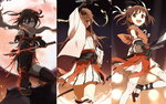 3girls brown_eyes brown_hair gloves hair_bun hair_ornament headband highres holding holding_sword holding_weapon jintsuu_(kantai_collection) kantai_collection katana kisetsu looking_at_viewer moon multiple_girls naka_(kantai_collection) ninjatou open_mouth pointing_sword remodel_(kantai_collection) scarf school_uniform sendai_(kantai_collection) serafuku short_hair skirt smile sword thighhighs torn_clothes two_side_up waraji weapon zouri